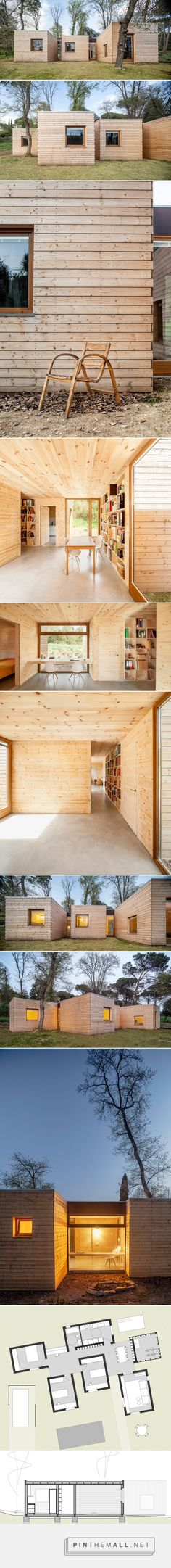 Casa GG by Alventosa Morell Arquitectes comprises timber-clad volumes - created via http://pinthemall.net