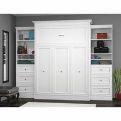 Bestar Queen Wall Bed With Two 25 Storage Units And Drawers In White Murphy Beds