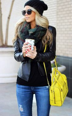 Leather jacket + yellow bag / coffee time