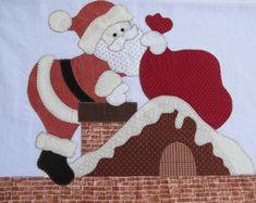 Pano de Prato Papai Noel na chaminé