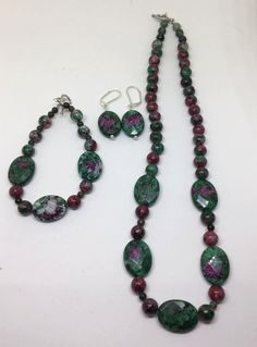 Ruby Zoisite Silver Plated Jewelry Set, Classy jewelry set, mothers day gift, natural stone, handcrafted, earrings, bracelet, necklace by DizzyBellDesigns on Etsy
