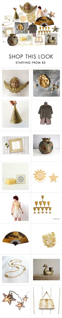 """""""Go for the Gold!"""" by calloohcallay-vintage ❤ liked on Polyvore featuring interior, interiors, interior design, home, home decor, interior decorating, Aamaya by Priyanka, WALL and vintage"""