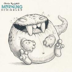 Cute monster art by CHRIS RYNIAK, Belly chuckles #morningscribbles