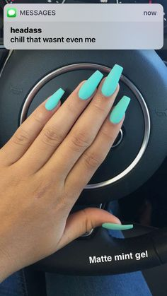 Best Acrylic Nails for 2017 - 54 Trending Acrylic Nail Designs - Best Nail Art Mint Nails, Aycrlic Nails, Neon Nails, Cute Nails, Mint Green Nails, Bright Nails, Coffin Nails, Pretty Gel Nails, Blue Matte Nails