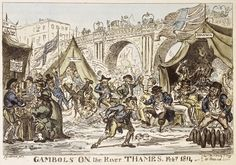 """""""Gambols on the River Thames. Feb 1814,"""" George Cruikshank (© Museum of London), note the man with his wooden leg stuck in the ice"""