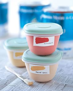 Painting Tips: Store leftover paint in sealed plastic containers or glass jars then labeling with color info and room