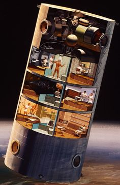 """I thought everyone might enjoy this close-up of image from my gallery """"Amazing Retro Space Station Designs."""" Fantastic cutaway… """" This North American Rockwell concept for space station was developed as part of a program to design and."""