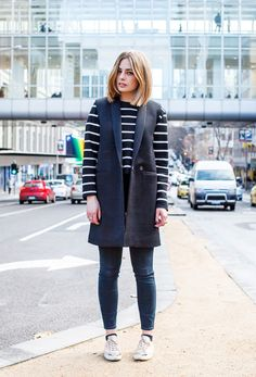 Stripe Out - Haircut = amaze. Now we've got that out of the way, we're digging all black textures matched with a statement stripe. Stripes are forever. Style Snaps, All Black, Knitwear, Latest Trends, Womens Fashion, Fashion Trends, Dots, Normcore, Stripes