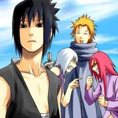 Sasuke, Suigetsu, Karin, Jugo