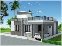elevations of independent houses માટે છબી પરિણામ Modern Bungalow House Design, Single Floor House Design, Simple House Design, House Front Design, Minimalist House Design, Modern House Plans, Independent House, House Elevation, Front Elevation