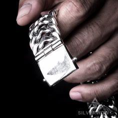 Cool und ungewöhnlich Silber Ton Anker Doppel-Finger-Ring