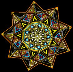 The nonogram (9pointed star), symbolizing the 9 governing vibrational frequencies that compose the physical universe, and 9 being the number of completion and spiritual fullfillment.