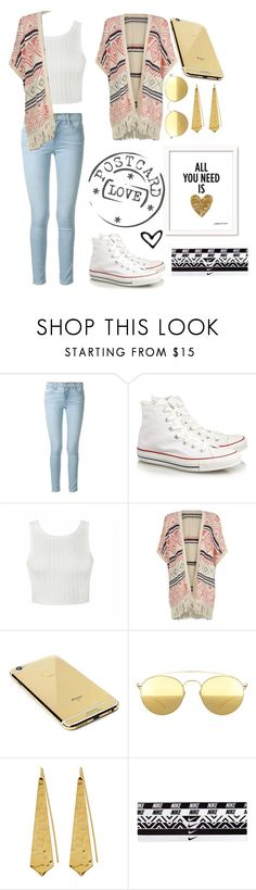"""""""hi"""" by jamwich ❤ liked on Polyvore featuring Frame Denim, Converse, Ally Fashion, Apricot, Goldgenie, Mykita, Panacea and NIKE"""