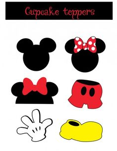 Mickey Inspired Parts Cupcake toppers ***What you get:  You will get 6 cupcake toppers. Just print and attach to craft or lollipop sticks and glue/tape back to back or to cardstock cutouts for adorable cupcake toppers. The size is no larger than 3