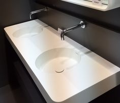 SOLIDBRIO  ISH 2015 MESSE FRANKFURT    Wall mounted washbasin  Size 1500X480 x140 mm Double round bowl, w/overflow hole White matt