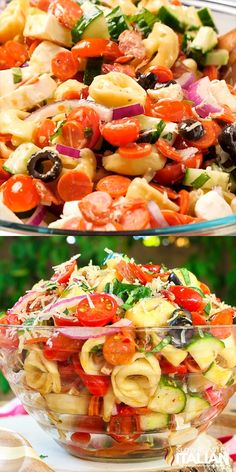 Pizza Tortellini Pasta Salad is a like a party in your mouth! It's a blend of your favorite pizza toppings in a fabulously zesty and tangy summer pasta salad. This simple recipe is sure to be your new obsession! Source by janina_jayjay Pasta Salad With Tortellini, Tortellini Recipes, Summer Pasta Salad, Pasta Salad Italian, Summer Salads, Simple Pasta Salad, Pasta Salad Recipes Cold, Summer Pasta Recipes, Summertime Salads
