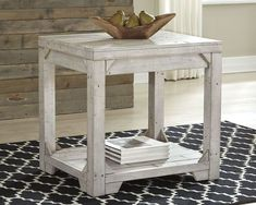 Ashley Furniture Fregine End Table with Made of solid pine wood,Weathered white wash finish,Planked and butcher block wood effect,Lower open shelf,Solid triangle bracket accents Farmhouse End Tables, Diy End Tables, Sofa End Tables, Farmhouse Desk, Farmhouse Windows, Living Room Furniture, Diy Furniture, Accent Furniture, Furniture Shopping