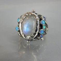 Silver Rainbow Moonstone Queen Ring