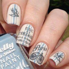 using Messy Mansion nail stamping image plate. Great Nails, Cute Nails, Paris Nails, My Little Paris, Vintage Nails, Pretty Nail Art, Stamping Nail Art, Nagel Gel, Cute Nail Designs