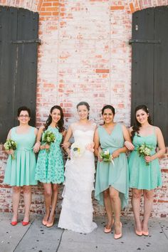 mint bridesmaid with peach shoes- EXACTLY WHAT I IMAGINED!
