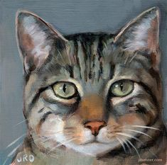 "Daily Paintworks - ""Tabby Cat Head"" by J. Dunster"