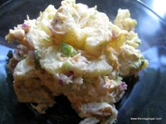 potato salad: potatos, rice wine vinegar, celery, green onions, carrots, vegenaise, mustard, dried parsley, dill relish or dried dill weed, S Optional sesame seeds