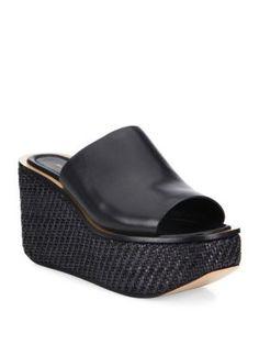 MICHAEL KORS Jane Leather Wedge Platform Mules. #michaelkors #shoes #sandals