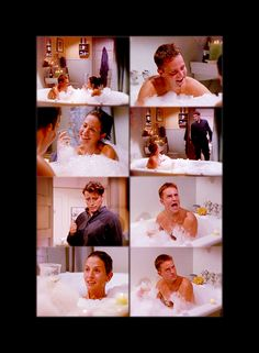Joey: Hey, it's me! I'm comin' in! (Monica quickly dives under the water as Joey enters. He looks a little shocked at what Chandler's doing.) Chandler: I've had a very long, hard day. Joey: Ahh, I'm gonna go get some chicken. Want some? Chandler: Ahh, no thanks. No chicken, bye-bye then. Joey: Okay. (Joey turns to leave but stops at the door.) Joey: You sure? Some extra crispy? Dirty rice? Beans? Chandler: For the last time no! Get out! Get out, Joey! Joey: All right! (Joey leaves…