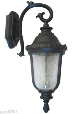 Aluminum Outdoor Exterior Lantern Wall Lighting Fixture Black Sconce Downward