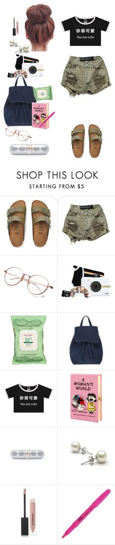 """""""Road trip"""" by pipimargarita ❤ liked on Polyvore featuring Birkenstock, OneTeaspoon, Polaroid, Burt's Bees, Mansur Gavriel, Olympia Le-Tan, Beats by Dr. Dre and Burberry"""