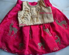 Best 12 Beautiful kids lehenga and crop top with deer design hand embroidery thread work. Mom And Baby Dresses, Kids Party Wear Dresses, Baby Summer Dresses, Kids Dress Wear, Dresses Kids Girl, Kids Wear, Dress Party, Baby Lehenga, Kids Lehenga