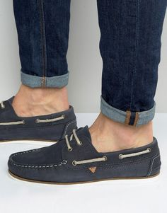 Image 1 of River Island Suede Boat Shoes In Navy