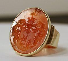 Large 18K Gold Georgian Armorial Carnelian Crest Ring from ragenstudio on Ruby…