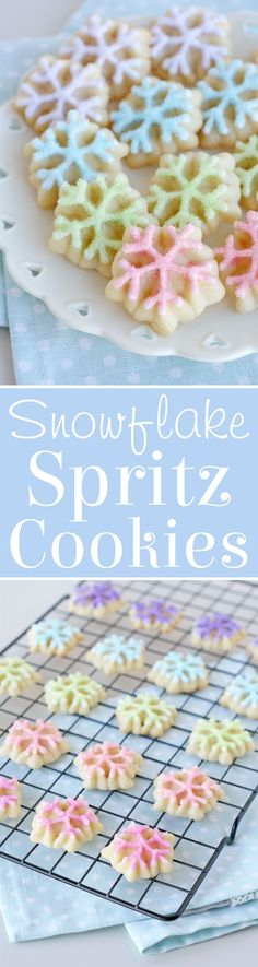 Delicious and cute Spritz Snowflake Cookies! The perfect spritz cookie recipe and all the tips you need to make beautiful snowflake cookies! Snowflake Cookies, Holiday Cookies, Holiday Treats, Holiday Recipes, Christmas Recipes, Xmas Food, Christmas Sweets, Christmas Cooking, Christmas Cakes