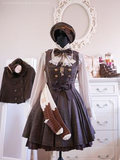 """Angelic Pretty """"Melty Ribbon Chocolate"""". JSK, beret, brooches, bow, necklace, bag, socks - Angelic Pretty. Blouse, capelet - Innocent World. Biscuit brooch - Indie. Shoes - Offbrand. Earmuffs - Swimmer."""