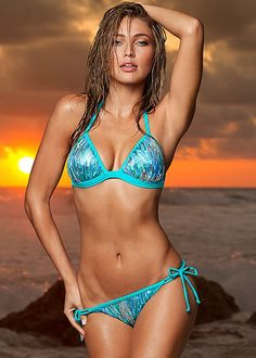 It's your time to shine! Venus enhancer push up triangle with Venus sequin string bikini bottom.