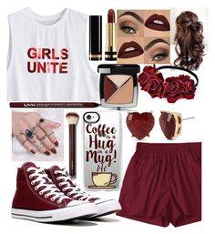 """""""Crimson."""" by officialprincess101 ❤ liked on Polyvore featuring Converse, Gucci, Chanel, Charlotte Russe, Casetify and Betsey Johnson"""
