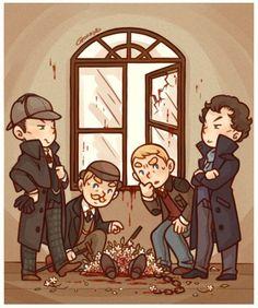 Victorian Holmes and Watson meet Modern Sherlock and John