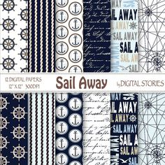 Nautical Digital Papers SAIL AWAY Navy Blue by DigitalStories, €3.20
