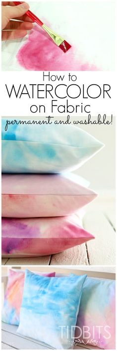 Use this tutorial to permanently watercolor on fabric! This makes beautiful pillows and so much more.