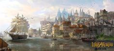 Port city by TylerEdlinArt castle boat ship docks landscape location environment architecture | Create your own roleplaying game material w/ RPG Bard: www.rpgbard.com | Writing inspiration for Dungeons and Dragons DND D&D Pathfinder PFRPG Warhammer 40k Star Wars Shadowrun Call of Cthulhu Lord of the Rings LoTR + d20 fantasy science fiction scifi horror design | Not Trusty Sword art: click artwork for source