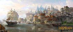 Port city by TylerEdlinArt on DeviantArt Fantasy concept art Concept art world Fantasy city
