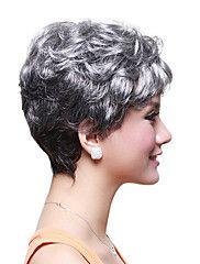 capless curto de alta qualidade peruca de cabelo sintético ondulado