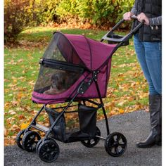"""Happy Trails Lite NO-ZIP Pet Stroller. Pet Gear has really """"raised the bar"""" with our new Happy Trails Lite NO-ZIP stroller. No zippers means no hassle when tryi Small Breed, Small Dogs, Dog Stroller, House Essentials, Pet Gear, Large Storage Baskets, Designer Dog Clothes, Cat Carrier, Buy Pets"""