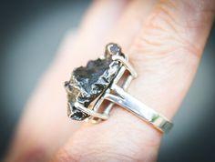 Meteorite Ring  Meteorite Ring Size 7  by NaturalRockShop on Etsy, $119.00