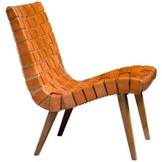 Jens Risom Webbed 654w Lounge Chair for Knoll, Germany, 1940s | From a unique collection of antique and modern lounge chairs at https://www.1stdibs.com/furniture/seating/lounge-chairs/