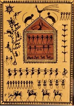 Saura tribal Art of Orissa India is often mistaken for Warli ( from Maharashtra) which is better known. Saura painting starts from a geometric frame and works inward. Traditional colors were red ocher and white rice paste. Originally only religious leaders painted them on homes for special events. Times have changed as the art is also made with ink on paper and tusser silk even t-shirts and can include modern imagery.