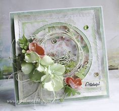 Dorota_mk: Lilies of the field Scrapbooking, Scrapbook Cards, Pretty Cards, Cute Cards, Card Making Inspiration, Making Ideas, Mixed Media Cards, Shabby Chic Cards, Birthday Cards For Women