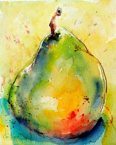 0902009 Ripe With Color by Christiane David, Watercolor Watercolor Fruit, Fruit Painting, Easy Watercolor, Watercolor Sketch, Abstract Watercolor, Watercolour Painting, Watercolor Flowers, Watercolours, Watercolor Paintings For Beginners