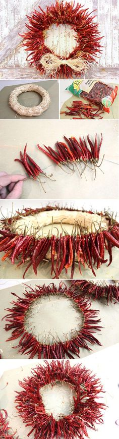 Add some serious spice to your home with a chili pepper wreath! Great for any season and any time of year, this is a great DIY that adds a fiery touch to su casa. http://www.ehow.com/how_9844_make-chili-pepper.html?utm_source=pinterest.com&utm_medium=referral&utm_content=inline&utm_campaign=fanpage
